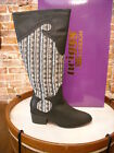 Twiggy London Black Leather & Fabric Western Boots New