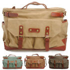 Hot Men Vintage Causal Canvas + Cow Leather Briefcase Shoulder Bag Messenger Bag