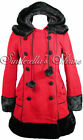 HELL BUNNY ~SaRaH JaNe~ Little RED Riding Hood Black Furry Corseted Coat 8-24