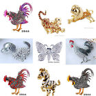 Fancy Gold/Silver Tone Rhinestone Crystal Animals Brooch Pin Party Unisex Styles