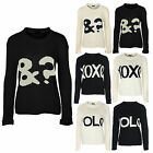 New Ladies Womens Warm Knitted Jumper XOXO YOLO &? Slogan Ladies Top Sizes 10-12