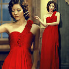SUMMER CHEAP RED+One Shoulder Long Fornal Bridesmaid Evening Prom Gown Dress NEW