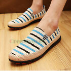 Stylish Men's Canvas Slip On Flats Casual Stitching Stripe Shoes Boy Driving New