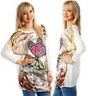 Ladies Gorgeous White Colourful Butterfly Butterflies Chain Belt Print Tunic Top