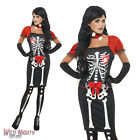 Halloween Fancy Dress # Ladies Fever Beautiful Bones Skeleton Costume Size 8-18