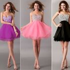 Strapless Bridesmaid Party Gown Prom Crystal Homecoming Evening Short Mini Dress