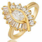 Women Jewelry Gift Marquise White Topaz Yellow Gold Plated Ring Size 6 7 8
