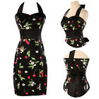 Vintage Delicate Beauty Pinup Pencil Fitted Wiggle Work Bodycon Cotton Dress