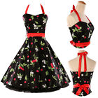New Fashion Halter Floral Print Rockabilly Swing Vintage Pinup Retro Party Dress