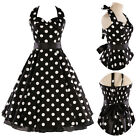 Design Retro Black/White Halter Polka Dot  Bandage Flared Cotton Prom Dress S~XL