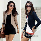 Women's Pinup Long Sleeve Slim Fit Solid Small Jacket Blzaer Cardigan Coat Suit