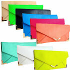 New Neon Nude Ladies Clutch Bag Vintage Envelope Gold Trim Flat Small Summer