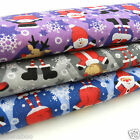 PER metre christmas polycotton fabric santa snowmen rudolph 3 colours 112cm wide