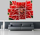 Red Dahlia Flowers Self Adhesive Wall Picture Poster Not Canvas