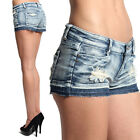 MOGAN Destroyed MINI JEAN SHORTS Vintage Ripped Distressed Denim Short Pants