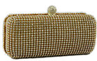 New Gold Beaded Diamante Wedding Evening Clutchbag Hard Case Shoulder Ocassions