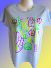 NEW HIPPY T-SHIRT - Neon Hand and Peace Symbols