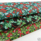 PER metre christmas polycotton fabric holly leaf red green black  112cm wide