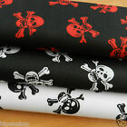 PER metre SKULLS & CROSSBONES  fabric black white or red 112cm wide polycotton
