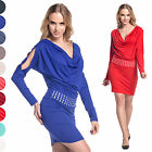 Sexy Batwing Cocktail Party Casual Dress Exposed Arms Long Sleeve UK 10-18  916
