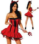 SEXY RED DEVIL GIRL HALLOWEEN FANCY DRESS PARTY COSTUME RED HOT DELUXE OUTFIT