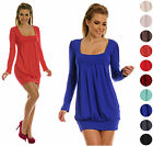 Glamour Empire Women's Tulip Mini Dress Bubble Stretch Tunic Top Long Sleeve 884