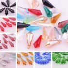 New 10pcs Faceted Glass Crystal Point Teardrop Pendant Bead 8x20mm More Color