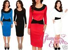 Smart Colour Block Zipped Sheath Dress Long Sleeve Scoop Neck Collar UK 8-16 881