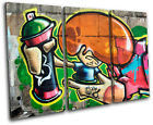 Urban decay Wall street Graffiti TREBLE CANVAS WALL ART Picture Print VA