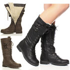 WOMENS LADIES LOW HEEL LACE UP CALF ZIP BUCKLE MILITARY WINTER BOOTS SIZE