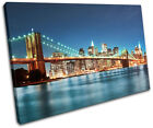 New York Skyline bridge City SINGLE CANVAS WALL ART Picture Print VA