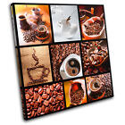 Coffee Collage Brown Food Kitchen SINGLE CANVAS WALL ART Picture Print VA