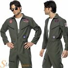 Mens Deluxe Top Gun Pilot Aviator Flight Suit Jumpsuit 80s Fancy Dress Costume