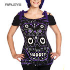 BANNED Ladies T Shirt Top Candy SUGAR SKULL Slash RIBBON Purple All Sizes