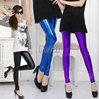 BF00 Tights Girls Bubble Gum Shiny Wet Bright Look Spandex Vinyl Pants Leggings