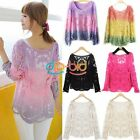 New Womens Gradient Colors Embroidery Floral Lace Crochet T-Shirt Tops Blouse