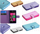 For Nokia Lumia 521 Premium Leather Bling Diamond Wallet Case Pouch Flip Cover