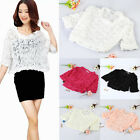Women Thin Coat 3D Rose Flower Mesh Lace Batwing Sleeve Top Pullover Outerwear