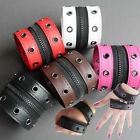 UH016 Leather Wristband Open Screw Zips to Fingerless Glove Punk Rock Lolita