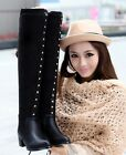 Womens Slim Fit Studded Mid Heel Over Knee Thigh High Boots Shoes Plus Size 7199