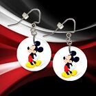 """**MICKEY MOUSE** 1"""" Button Dangle Earrings **FREE PIN**  ~~USA Seller"""
