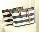 Women Girls Polyurethane Leather Stripe Handbag Tote Shoulder bag Messenger Bag