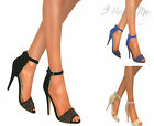 WOMENS STRAPPY PEEP TOE GLITTER STILETTO HIGH HEEL ANKLE PARTY SANDAL SHOE SIZE