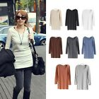 Hot Women Basic Tee V NECK Cotton Blend Long Sleeve Casual Top Blouse T-Shirt
