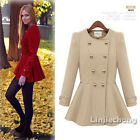 Women Double-breasted Cashmere Empire Slim Winter Frill Parka Coat Jacket S M L