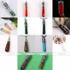 1pc Natural Gem Gemstone Column Pendulum Wrap Pendant Focal Bead for Neckalce