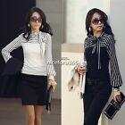 Women Korea sexy Polo Neck Puff Long Sleeve Stripe Top Blouse T-Shirt Plus 4Size