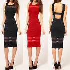 Womens Sexy Bodycon Slim Dress Cocktail Party Evening Clubwear Pencil Back Open