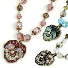 Sweet Romance Jeweled Pansy Flower and Pearls Necklace
