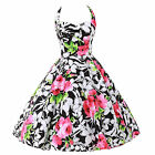 Flower Print Retro Rockabilly Ball Prom Dress Pageant Evening Party IN Size S~XL